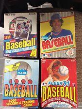 4 WAX BOX LOT FLEER 1988 1989 1990 1991 UNOPENED BASEBALL CARDS 36 PACKS PER