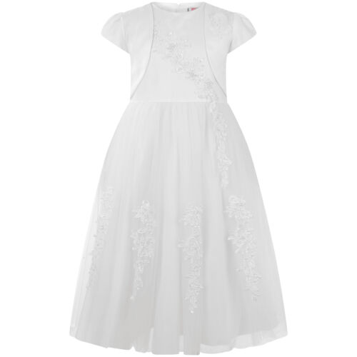 Girls Teenage White 2Piece Jacket Formal Bridesmaid Wedding Lace Dress Gown 9044