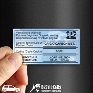 Adesivo etichetta vernice PPG Fiat Uno Turbo Grigio scuro Carbon metallizzato