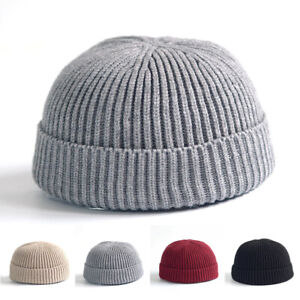 Unisex Hut Mütze Strickmütze Krempe Flache Kappe Hat Matrosenmütze Winterwärmer