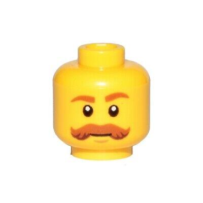 Lego Yellow Minifig Head Moustache HP Brown Bushy Moustache