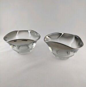 Vtg-Dorothy-Thorpe-Era-Queens-Lusterware-Silverfade-Triangular-Bowls-Relish-Nuts
