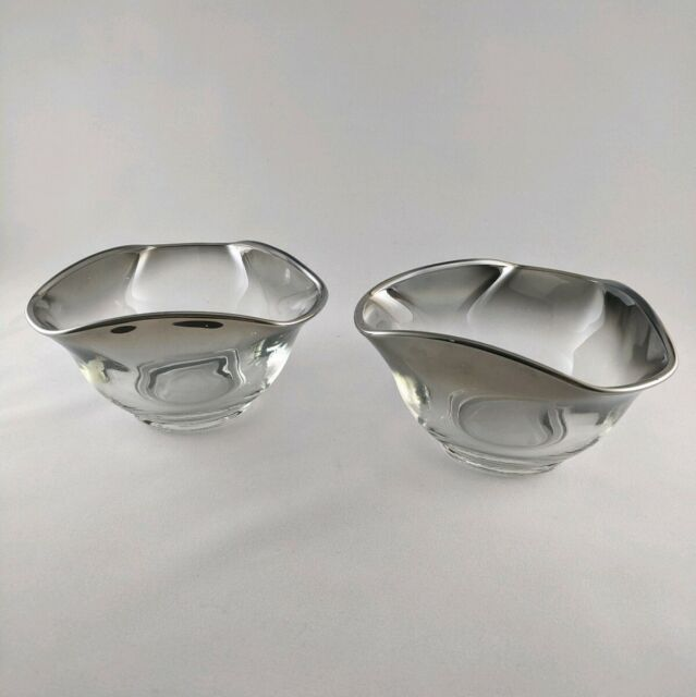 Vtg Dorothy Thorpe Era Queens Lusterware Silverfade Triangular Bowls Relish Nuts
