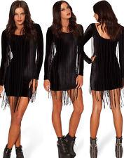 Women Black Fringe Party Dress With Hippie and Tassel Wednesday Summer Clubwear