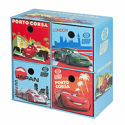 Disney Cars Kids Storage 4 Drawers Boxes Cardboard Toys Arts & Crafts Playroom