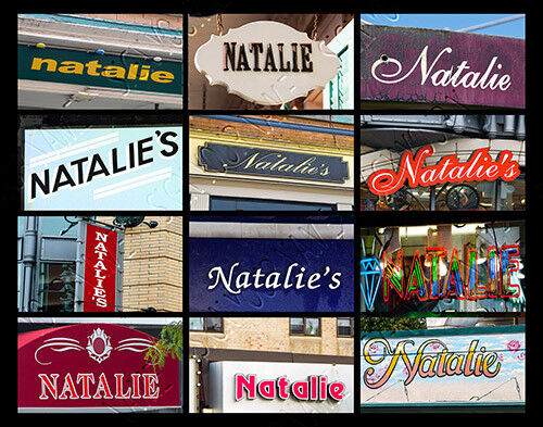 NATALIE Name Poster featuring photos of actual signs