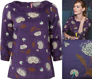 New-White-Stuff-size-8-18-Purple-Floral-Dandelion-Bug-Print-Lace-Top-Blouse