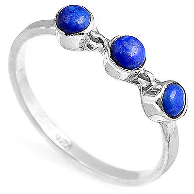 Sterling Silver Ring 925 Solid Lapis Lazuli Gemstone Handmade Gentle Thin Size
