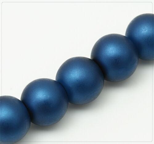 100x Glaswachsperlen Rund Schmuck Basteln Perlen DIY Farbwahl matt 8mm