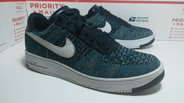 the latest 6b1ff 3ec61 Used Nike Air Force 1 Ultra Flyknit Low AF1 Obsidian/White/Blue 817419-400  SZ 10