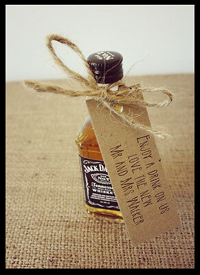 20 drink/bottle wedding favour personalised tags /shabby chic/vintage style 3006