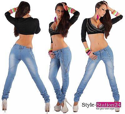 H55 Jeans Donna Pantalone A sigaretta a sigaretta Increspature aderente skinny
