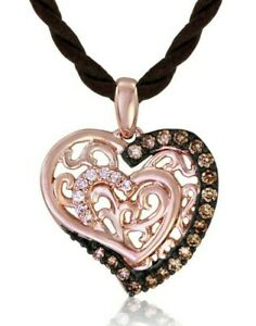 LeVian 14K Rose Gold Round Brown Chocolate Diamonds Love Heart Pendant Necklace