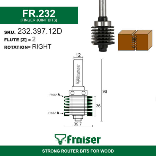 Fresa giunti Z=2 Tipo 3 FRAISER Frese x legno HW per fresatrice verticale