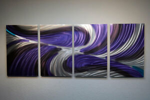 Abstract Metal Wall Art Contemporary Modern Decor Original Echo in Purple