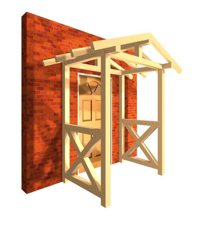 Haustürvordach mit Handlauf KVH Satteldach Haustür Tür Garten Haus Regenschutz