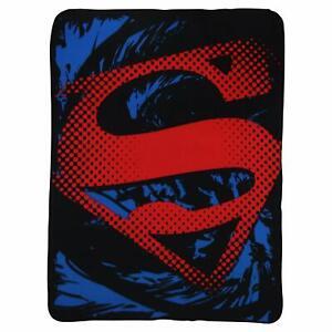 Superman-Raw-Shield-Emblem-Logo-DC-Comics-Red-Hope-Fleece-Blanket-Throw-NEW