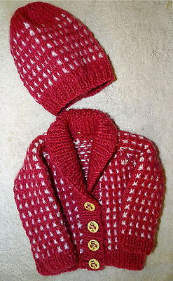 Sweaters Strict Hand Knitted Chunky Cardigan With Matching Hat In Pink/white 3/6 Mth Baby Girl Convenience Goods