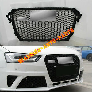 For-Audi-RS4-Front-Euro-Sport-Glossy-Black-Grille-For-A4-B8-5-S4-SFG-2013-2015