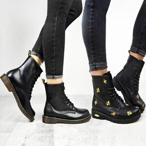 Chaussures Femme Doc Bottines Cuir Synthétique Noir Lacets Travail Plane Army Air Punk Goth-afficher Le Titre D'origine
