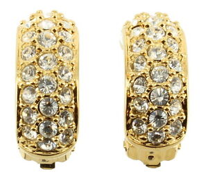 Image Is Loading Vintage Swarovski Pave Diamonte Crystals Hoop Clip Earrings