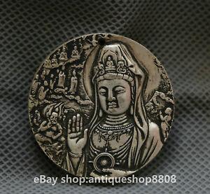45MM-China-Miao-Silver-Bodhisattva-Samantabhadra-Guan-Yin-Buddha-Amulet-Pendant