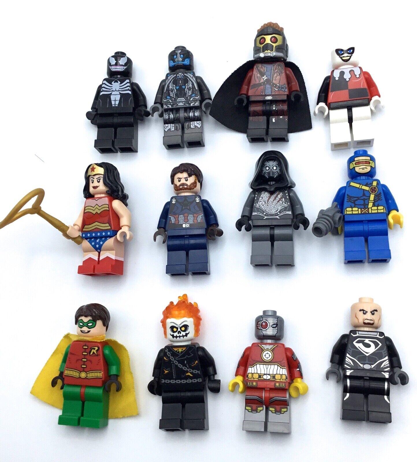 Lego Lote De 12 Minifiguras súper Héroe Mujer Maravilla Deadshot Estrella Lord Robin Raro