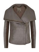 Muubaa Seine Bentonite Grey Leather Drape Jacket. RRP £540. UK 10. M0814