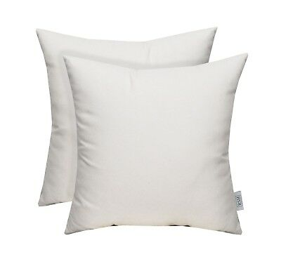 Set Of 2 Indoor Outdoor Decorative Square Pillows Sunbrella Canvas White Ebay