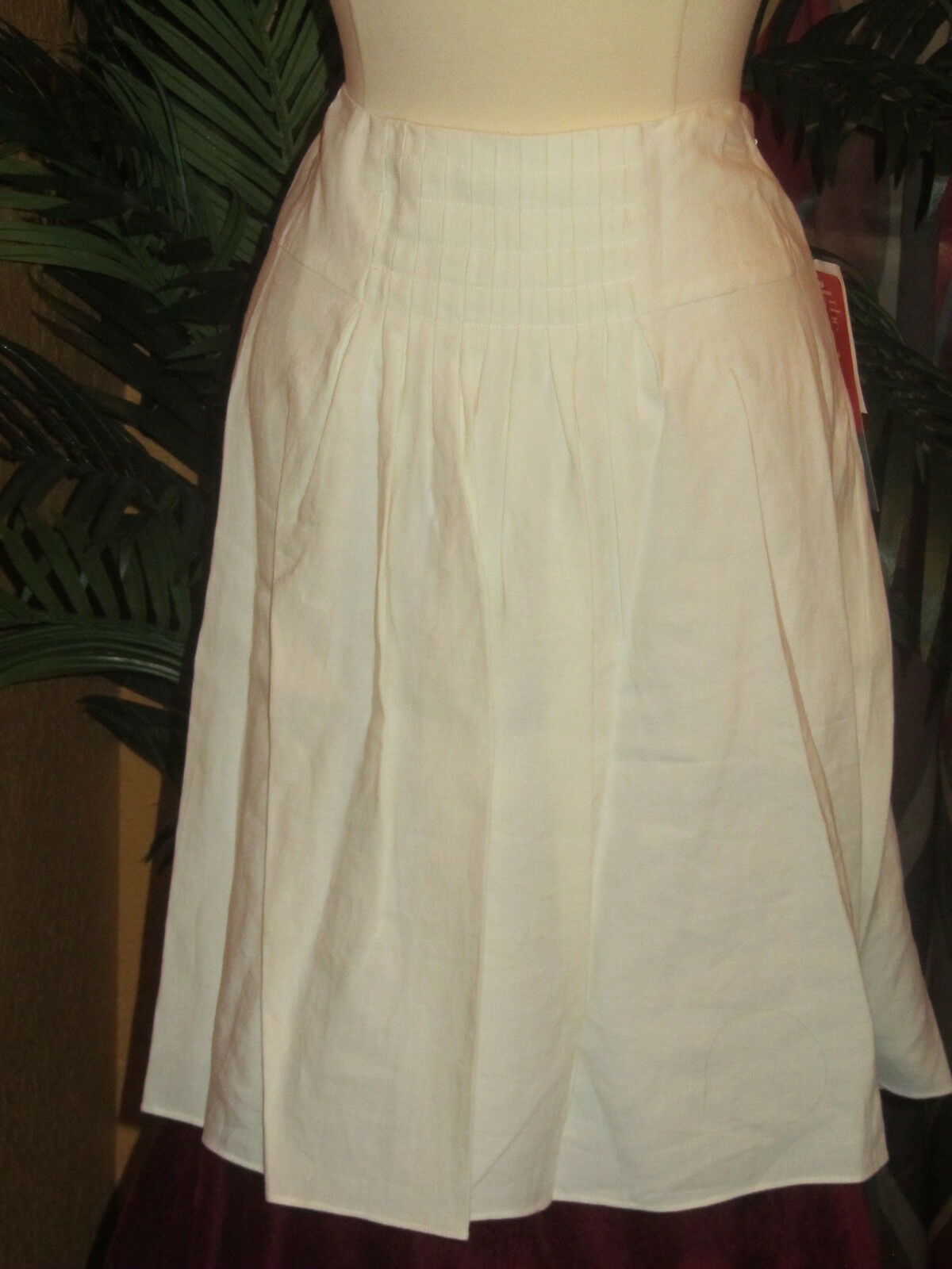 MAGASCHONI COLLECTION 8 NWT  274 white women's lined skirt linen
