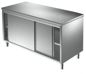 tavolo armadiato in acciaio inox, 2 porte scorrevoli, mobile nuovo