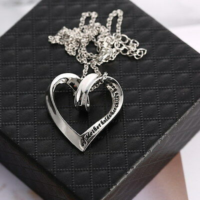"""A Mother Holds Her Child Hand"" lettering Silver Heart Sign Necklace pendent new"