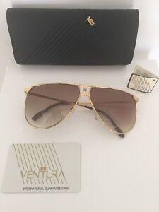 VENTURA-Sunglasses-NEW-VINTAGE-AVIATOR-M-7310-22-Karat-Gold-Plated-1980s-Italy