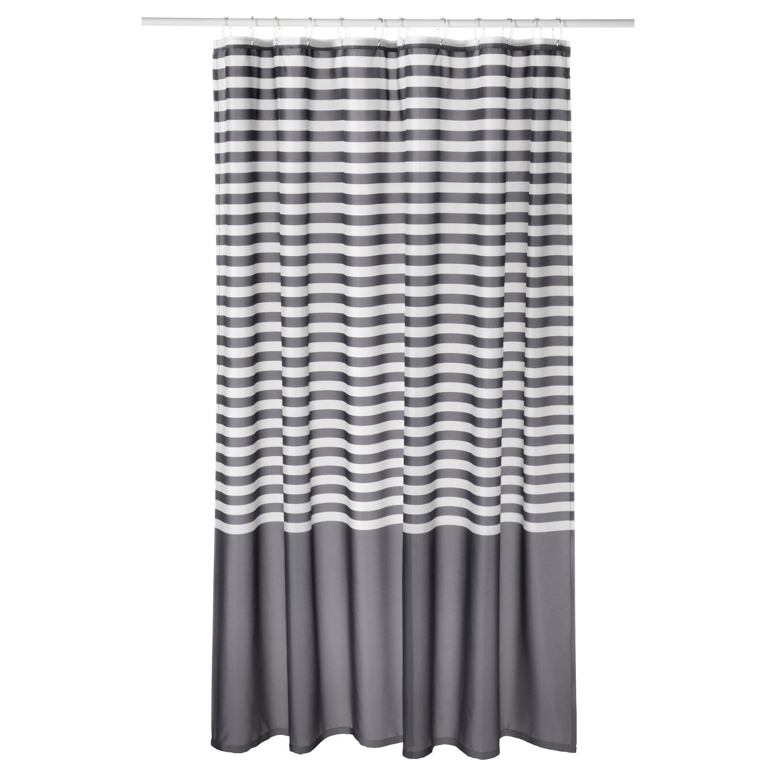 New Ikea Vadsjon Vadsjon Dark Grey White Gray Striped Shower Curtain Bathroom