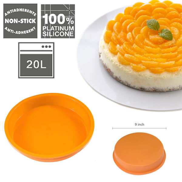 Round Silicone Non-stick Cake Pizza Bread Pan Mold Bakeware Baking Tray Mould 7