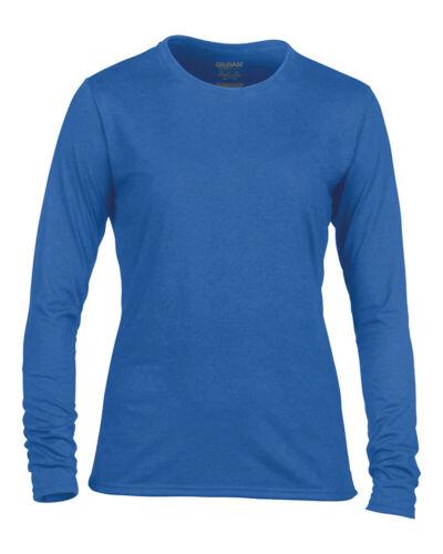 Gildan Women/'s Gildan Performance Long Sleeve Crew Neck T-shirt Wicking Top New