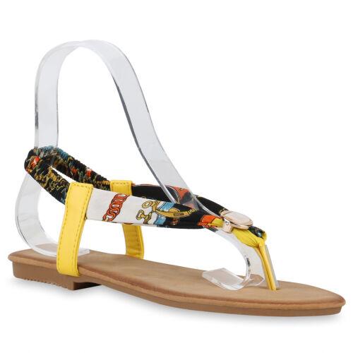 Damen Zehentrenner Sandalen Prints Sommerschuhe Zehenspreizer 831109 Schuhe