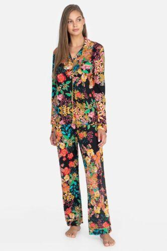 Johnny Was Camella Long PJ Set Lingerie Black Flower L Lounge Sleep Pant New
