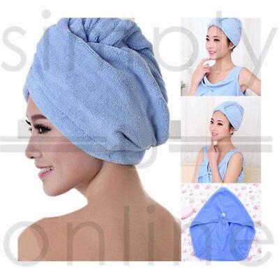 Microfibre Cheveux Séchage Serviette Wrap Turbie Turban Tête Chapeau Bonnet Microfibre