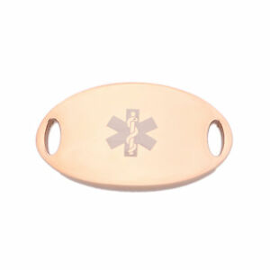 Image Is Loading Rose Gold Stainless Medical Alert Oval Id Tag