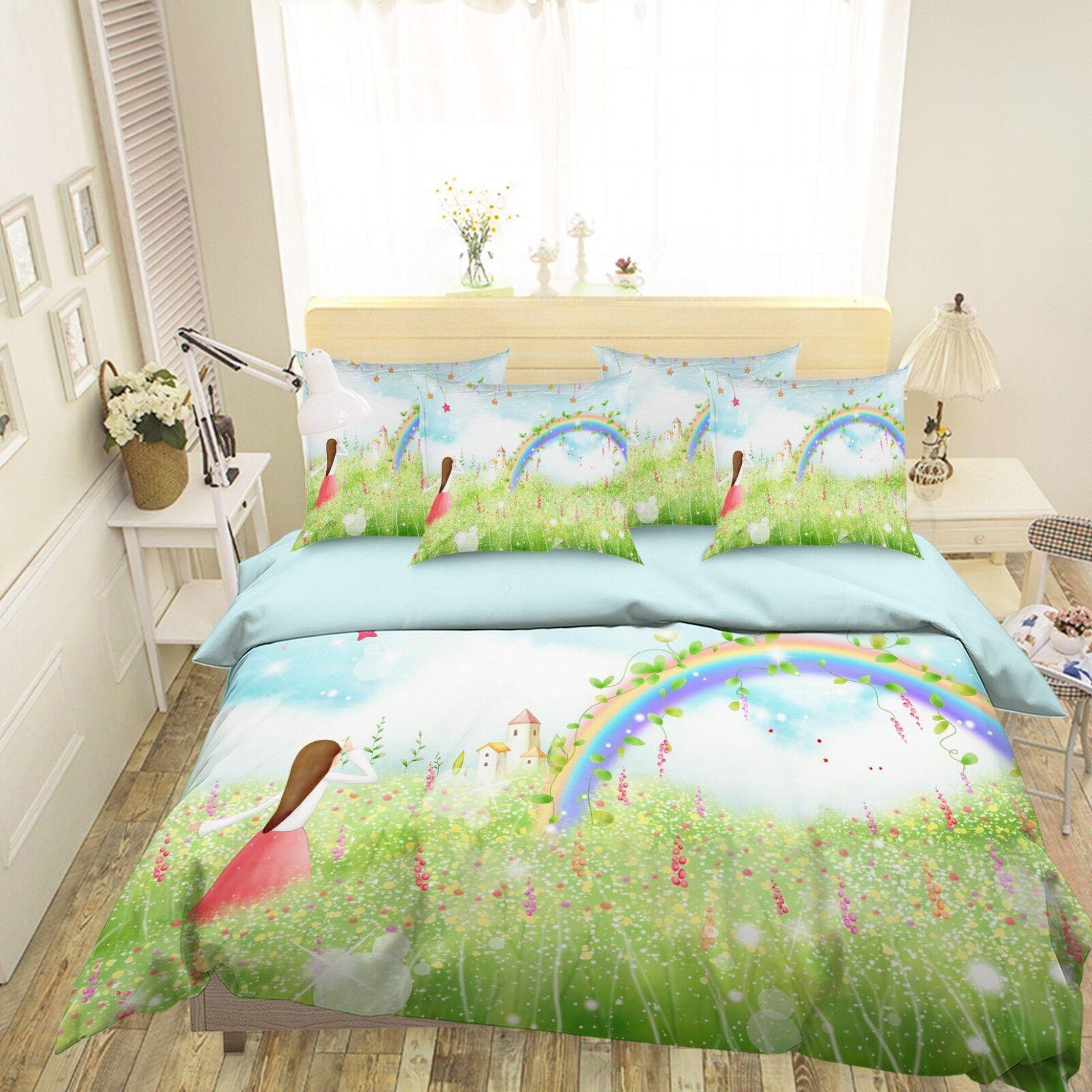 3D Rainbow Girl 45 Bed Pillowcases Quilt Duvet Cover Set Single Queen King AU