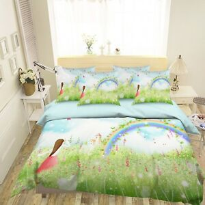 3D-Rainbow-Girl-45-Bed-Pillowcases-Quilt-Duvet-Cover-Set-Single-Queen-King-AU