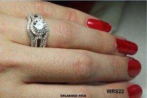 SPARKLING 7MM ROUND CUT CZ STERLING SILVER VNTG ENGAGEMENT RING WEDDING RING SET