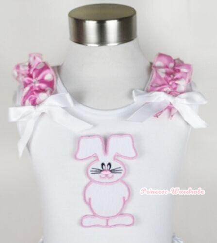 White Girl Top Shirt EASTER EGG RABBIT PRINT Pink Dots Shoulder White Bow NB-10Y