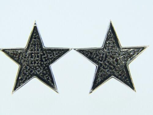 Mens//Ladies Star Shape Black Diamond Xl Stud Earrings