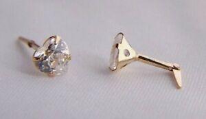9ct Gold Andralok 5mm CZ Plain Heart Studs Earrings Girls Mum's B'day GIFT BOX N