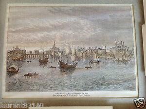 Ancien-encadrement-de-gravure-vue-de-Londres-sud-Est-1550-bel-objet-en-main