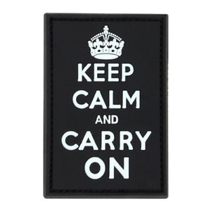 Condor Keep Calm & Carry On Morale Patch - Black - New - Hook & Loop