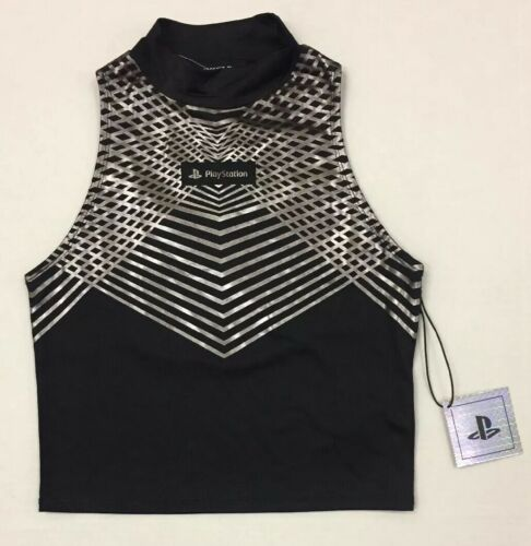 Women PlayStation Video Game Console Silver Metallic Mock Neck Crop Top Black S