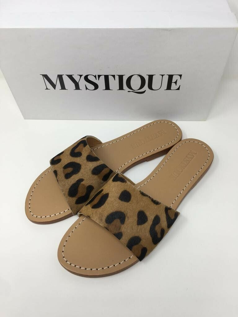 MYSTIQUE Animal-Print Slip-On Leather Sandals UK 7 EU 40 US 9